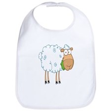 funky cartoon white sheep chewing grass Bib