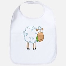 funky cartoon white sheep chewing grass Bib