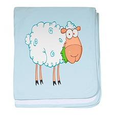 funky cartoon white sheep chewing grass baby blank