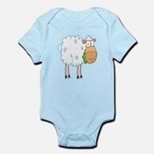 funky cartoon white sheep chewing grass Infant Bod