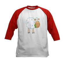 funky cartoon white sheep chewing grass Tee