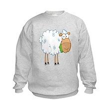 funky cartoon white sheep chewing grass Sweatshirt
