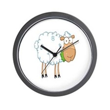 funky cartoon white sheep chewing grass Wall Clock