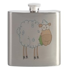 funky cartoon white sheep chewing grass Flask