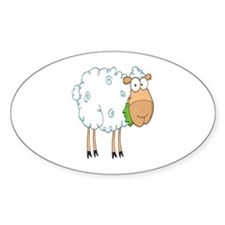 funky cartoon white sheep chewing grass Decal
