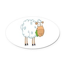 funky cartoon white sheep chewing grass Oval Car M