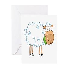 funky cartoon white sheep chewing grass Greeting C