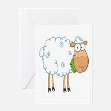 funky cartoon white sheep chewing grass Greeting C