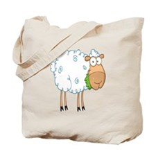 funky cartoon white sheep chewing grass Tote Bag