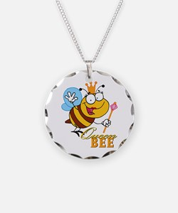 funny cartoon queen bee with text Necklace