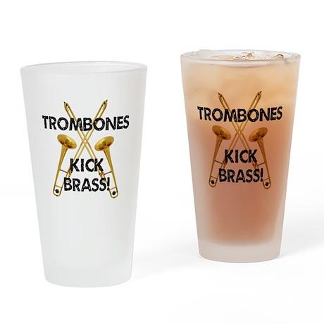 Trombones Kick Brass Drinking Glass