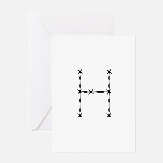 Barbed Wire Monogram H Greeting Card