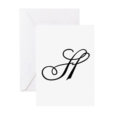 Champagne Monogram H Greeting Card