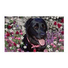 Abby Black Lab in Flowers 3'x5' Area Rug