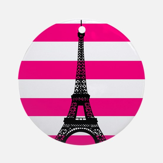 Eiffel Tower Pink and White Stripes Ornament (Roun