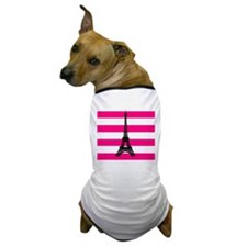 Eiffel Tower Pink and White Stripes Dog T-Shirt