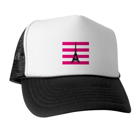 Eiffel Tower Pink and White Stripes Trucker Hat