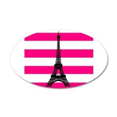 Eiffel Tower Pink and White Stripes Wall Decal