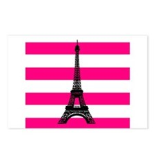 Eiffel Tower Pink and White Stripes Postcards (Pac