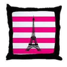 Eiffel Tower Pink and White Stripes Throw Pillow