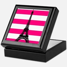 Eiffel Tower Pink and White Stripes Keepsake Box