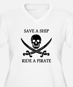 Save A Ship Ride A Pirate Plus Size T-Shirt