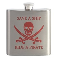 Save A Ship Ride A Pirate Flask