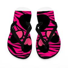Paw Print on Hot Pink Zebra Flip Flops
