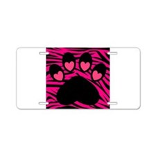 Paw Print on Hot Pink Zebra Aluminum License Plate