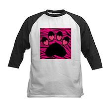 Paw Print on Hot Pink Zebra Baseball Jersey