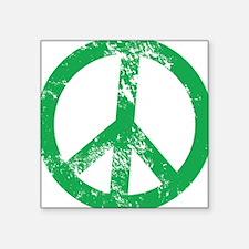 Green Distressed Peace Sticker