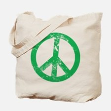 Green Distressed Peace Tote Bag