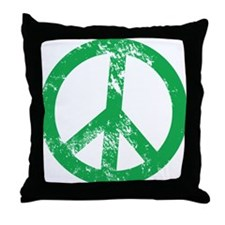 Green Distressed Peace Throw Pillow