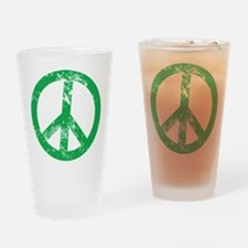 Green Distressed Peace Drinking Glass