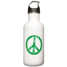 Green Distressed Peace Water Bottle