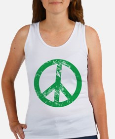 Green Distressed Peace Tank Top