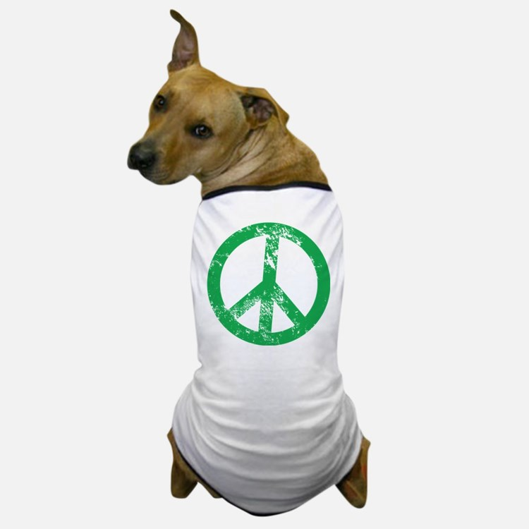 Green Distressed Peace Dog T-Shirt