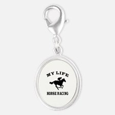 My Life Horse Racing Silver Oval Charm