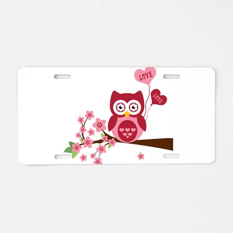 Owl LOVE Aluminum License Plate