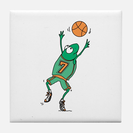Cute Frog Basketball Player Tile Coaster