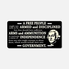 Washington Quote - A Free People Aluminum License