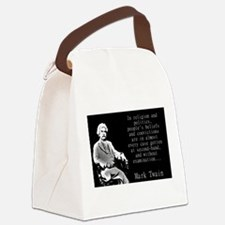 In Religion And Politics - Twain Canvas Lunch Bag
