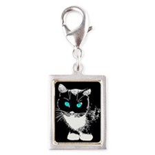Blue Eyed Cat Silver Portrait Charm