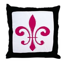 Fleur De Lis Red Throw Pillow
