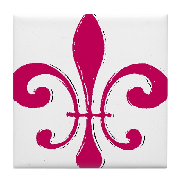 Fleur De Lis Red Tile Coaster By Figstreetstudio