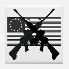 AR-15 and Revolutionary Flag Tile Coaster