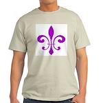 Fleur De Lis Purple Ash Grey T-Shirt