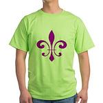 Fleur De Lis Purple Green T-Shirt