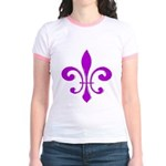 Fleur De Lis Purple Jr. Ringer T-Shirt