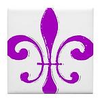Fleur De Lis Purple Tile Coaster